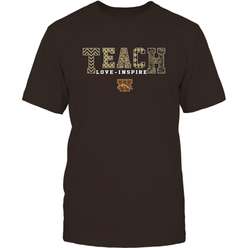 Western Michigan Broncos - 19082210336 - Teach Love Inspire - Slogan Pattern - IF17-IC17-DS27 Front picture