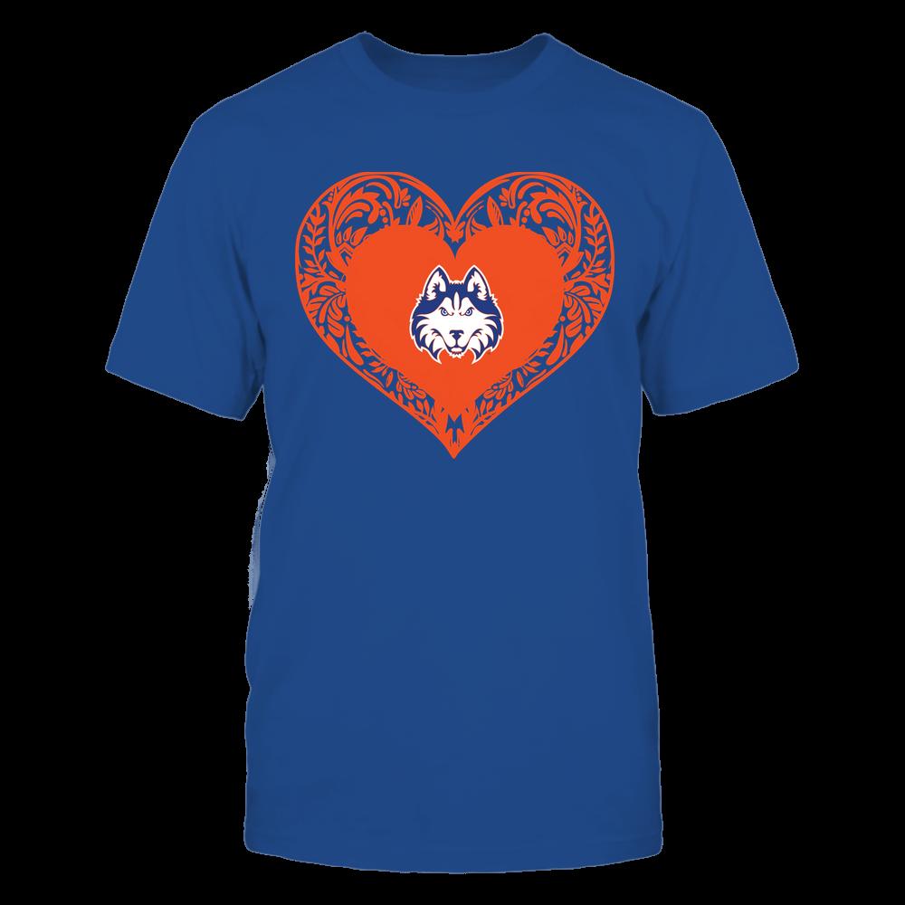 Houston Baptist Huskies - Floral Patterned Heart - Logo - Team Front picture