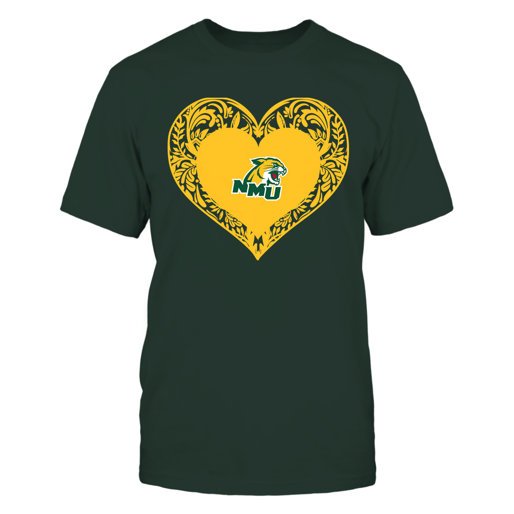 Northern Michigan Wildcats - Floral Patterned Heart - Logo - Team Front picture