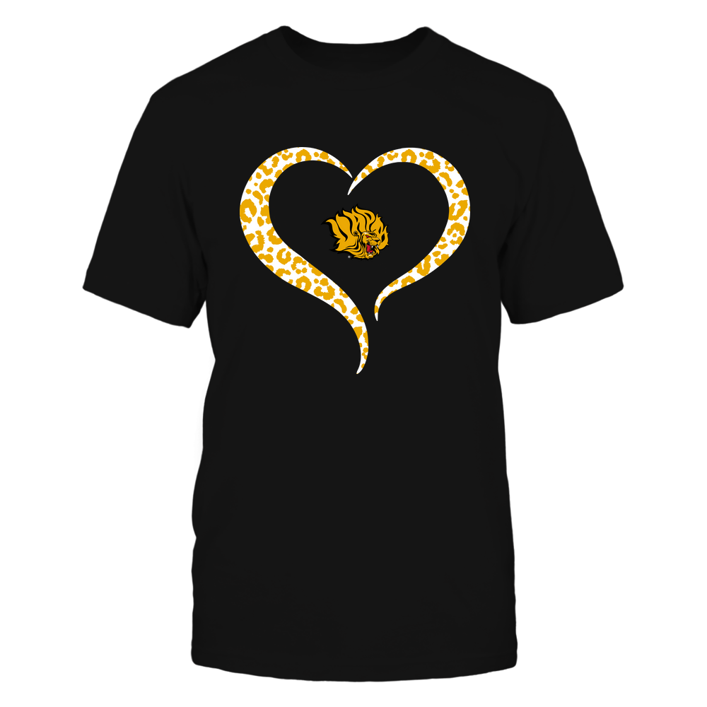 Arkansas Pine Bluff Golden Lions - Half Heart - Leopard Pattern Front picture