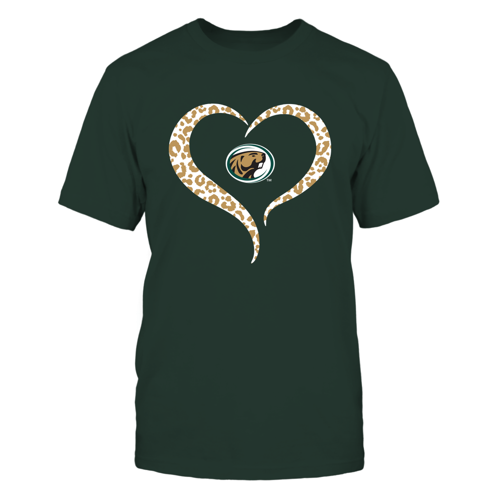 Bemidji State Beavers - Half Heart - Leopard Pattern Front picture