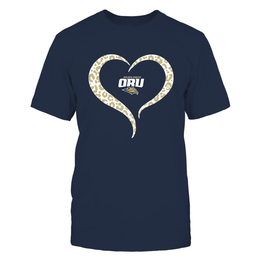 Oral Roberts Golden Eagles - Half Heart - Leopard Pattern Front picture