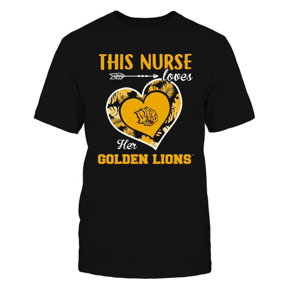 Arkansas Pine Bluff Golden Lions - This Nurse - Loves Her Team - Heart Foliage Front picture