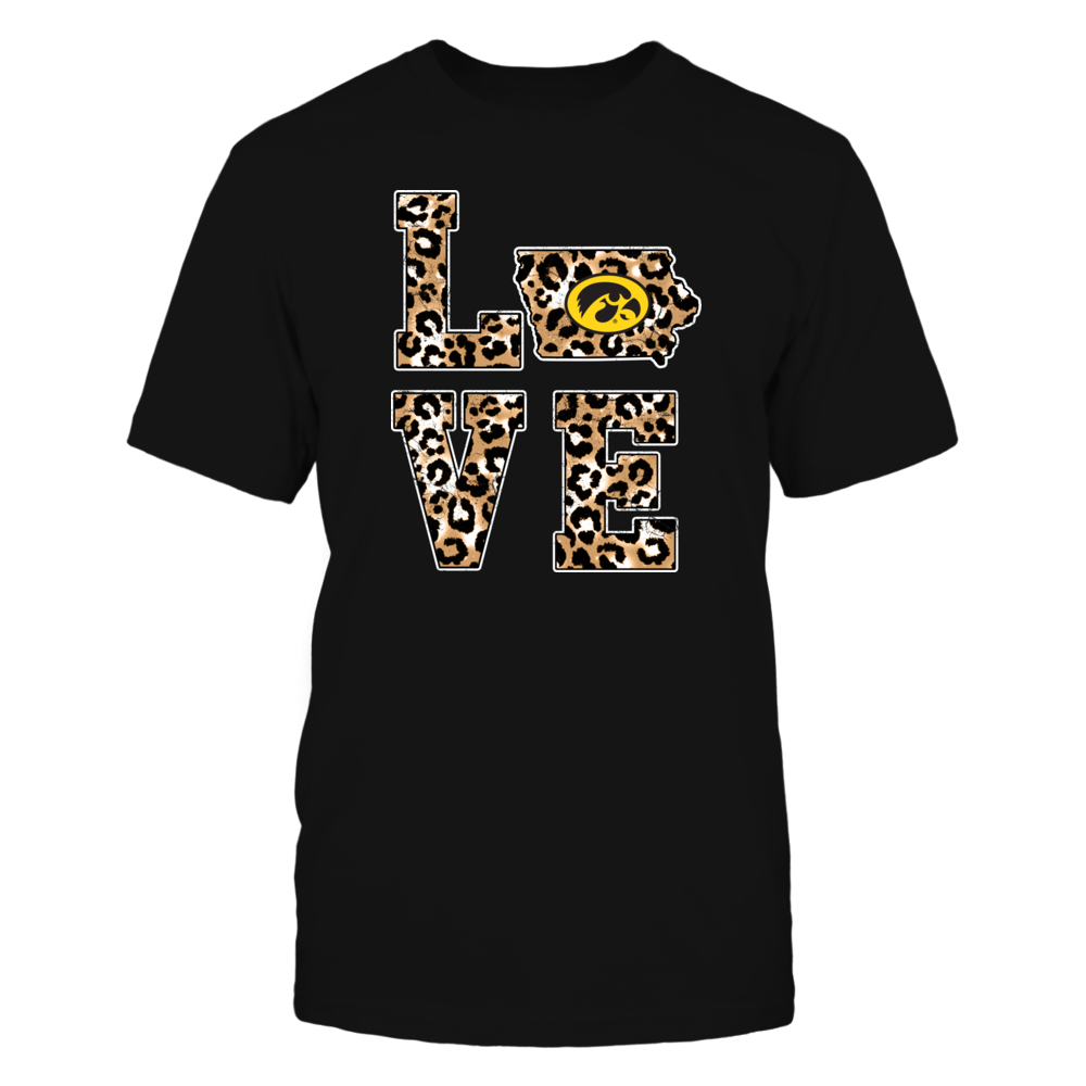 Iowa Hawkeyes - Stacked Love - State Map - Leopard Pattern - IF13-IC13-DS64 Front picture