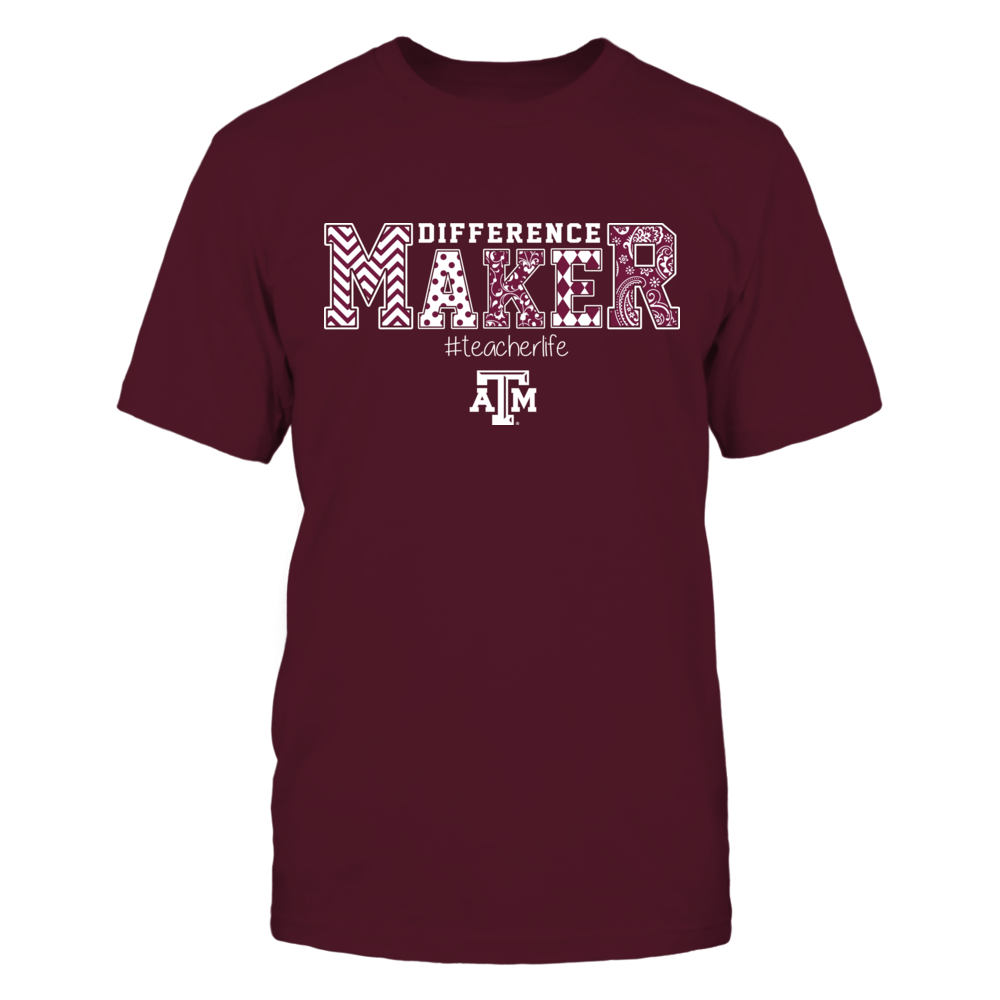 Texas A&M Aggies - Teacher - Difference Maker Slogan Pattern - IF17-IC17-DS37 Front picture
