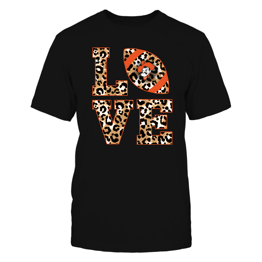 Oklahoma State Cowboys - 19082610574 - Stacked Love Football - Leopard - IF-IC17-DS64 Front picture