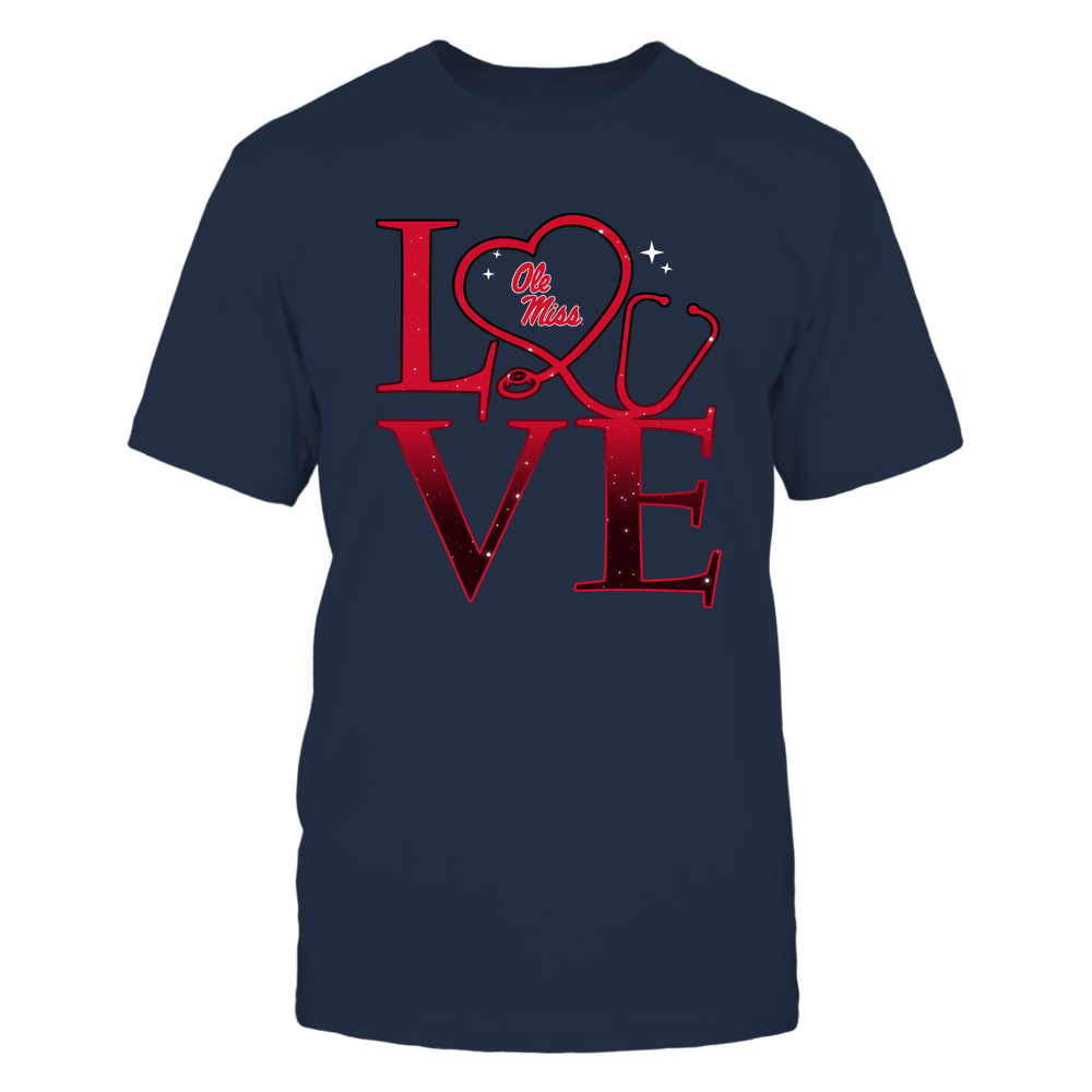 Ole Miss Rebels - Stacked Love Swirly Heart - Nurse Front picture