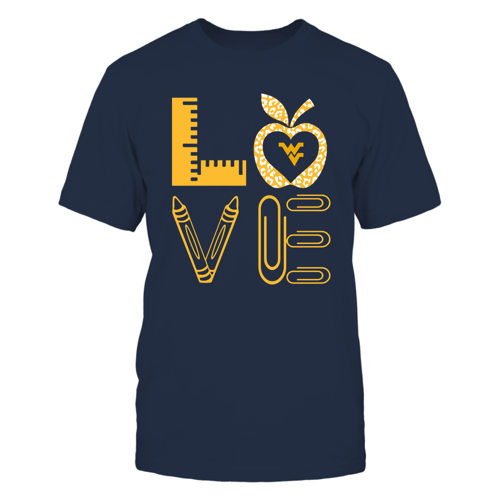 West Virginia Mountaineers - Stacked Love - Teacher Things - Leopard Apple Front picture