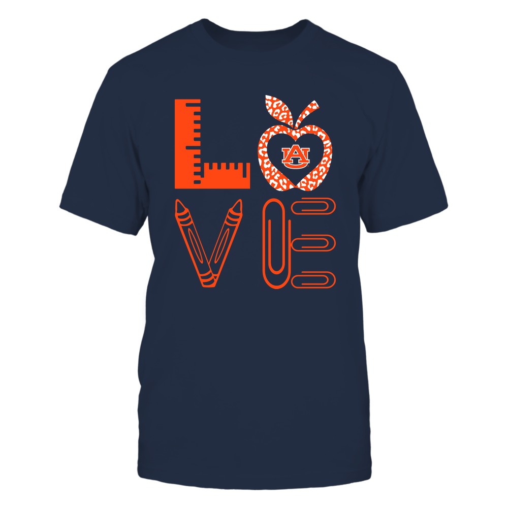 Auburn Tigers - Stacked Love - Teacher Things - Leopard Apple Front picture