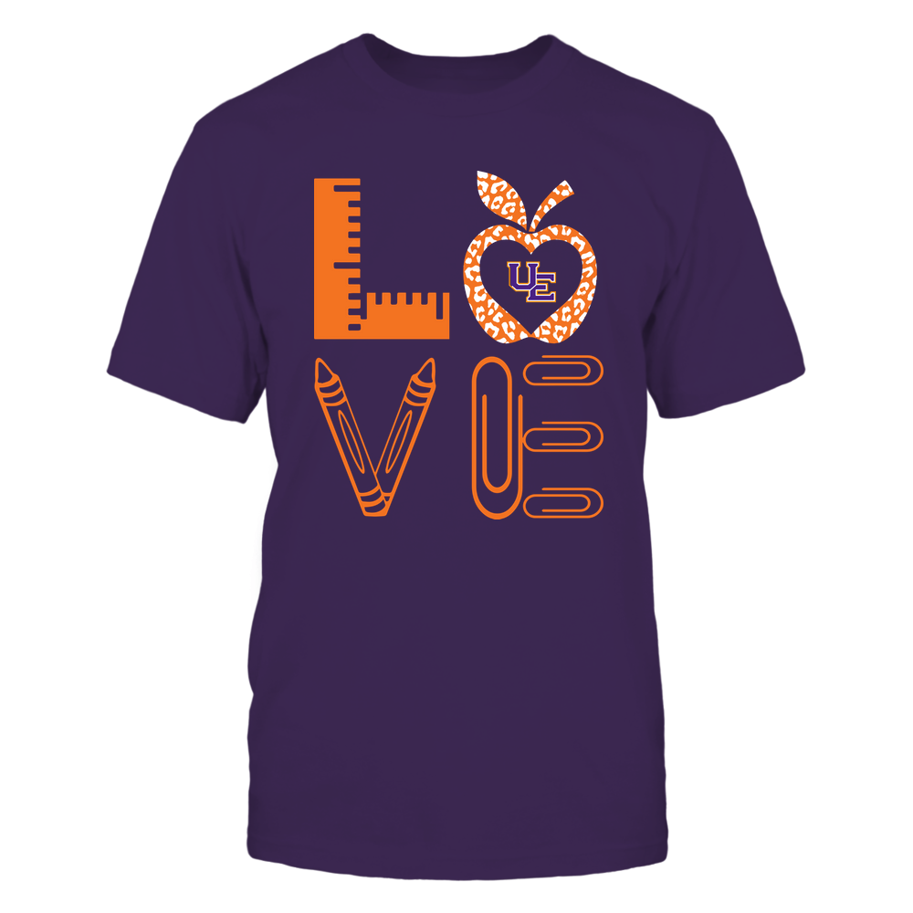 Evansville Purple Aces - Stacked Love - Teacher Things - Leopard Apple Front picture