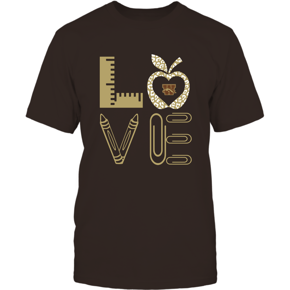 Western Michigan Broncos - Stacked Love - Teacher Things - Leopard Apple Front picture