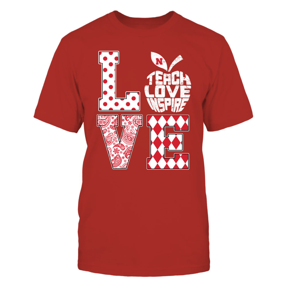 Nebraska Cornhuskers - Teacher - Stacked Love - Teach Love Inspire Inside Apple - IF13-IC13-DS75 Front picture