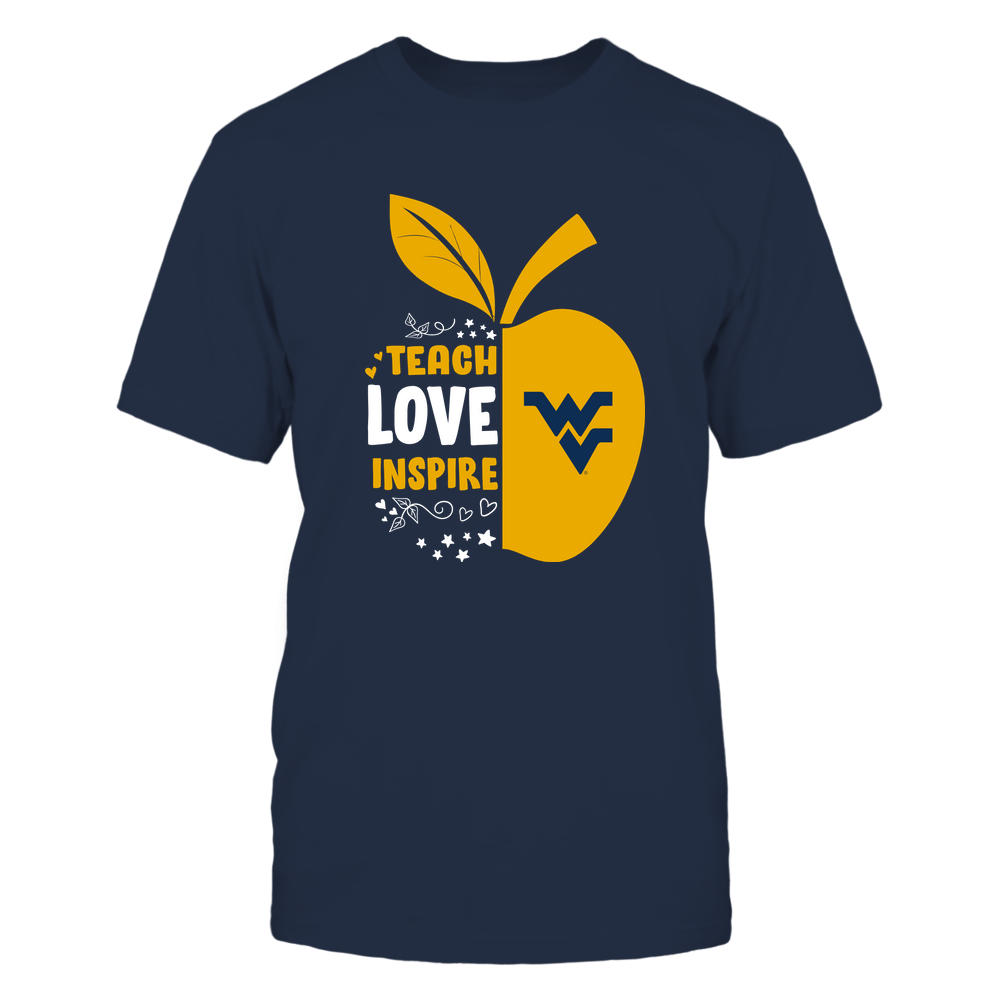 West Virginia Mountaineers - Teacher - Half Apple - Teach Love Inspire - IF13-IC13-DS84 Front picture