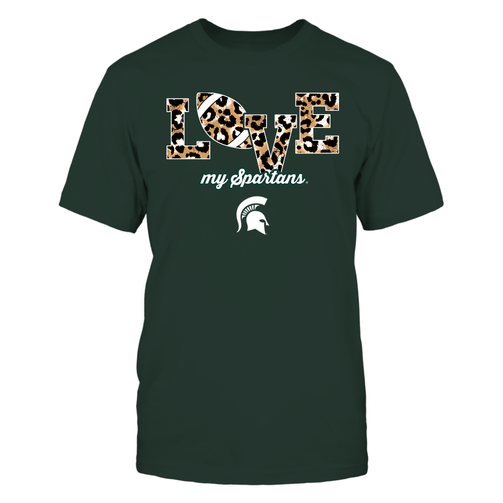Michigan State Spartans - Love-Football-Leopard-Pattern-IF13-IC13-DS84 Front picture