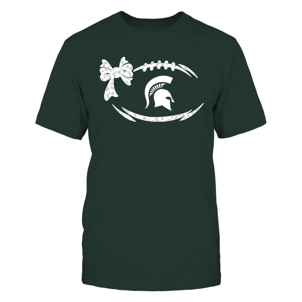 Michigan State Spartans - Football Bow - Leopard Pattern Front picture