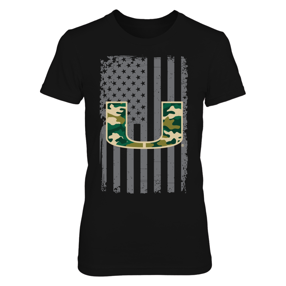 Miami Hurricanes - American Flag With Camo Logo Front picture