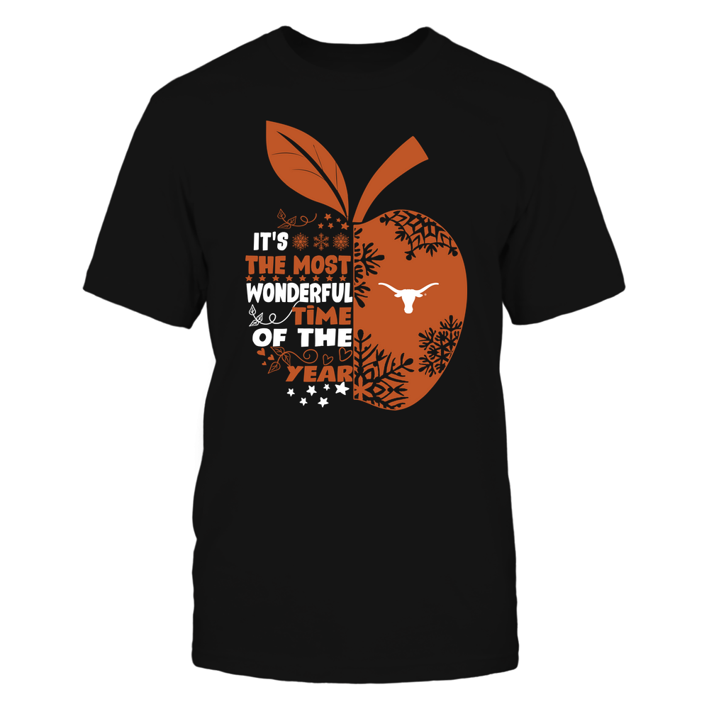 Texas Longhorns - Teacher - The Most Wonderful Time Of The Year - Apple Snowflake Pattern Front picture