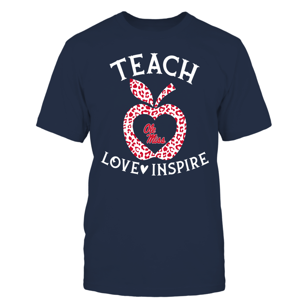 Ole Miss Rebels - Teacher - Teach Love Inspire - Leopard Apple Front picture