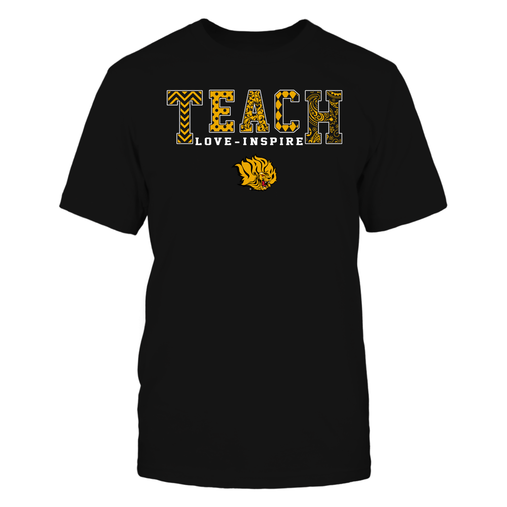 Arkansas Pine Bluff Golden Lions - Teach Love Inspire - Slogan Pattern - Team Front picture