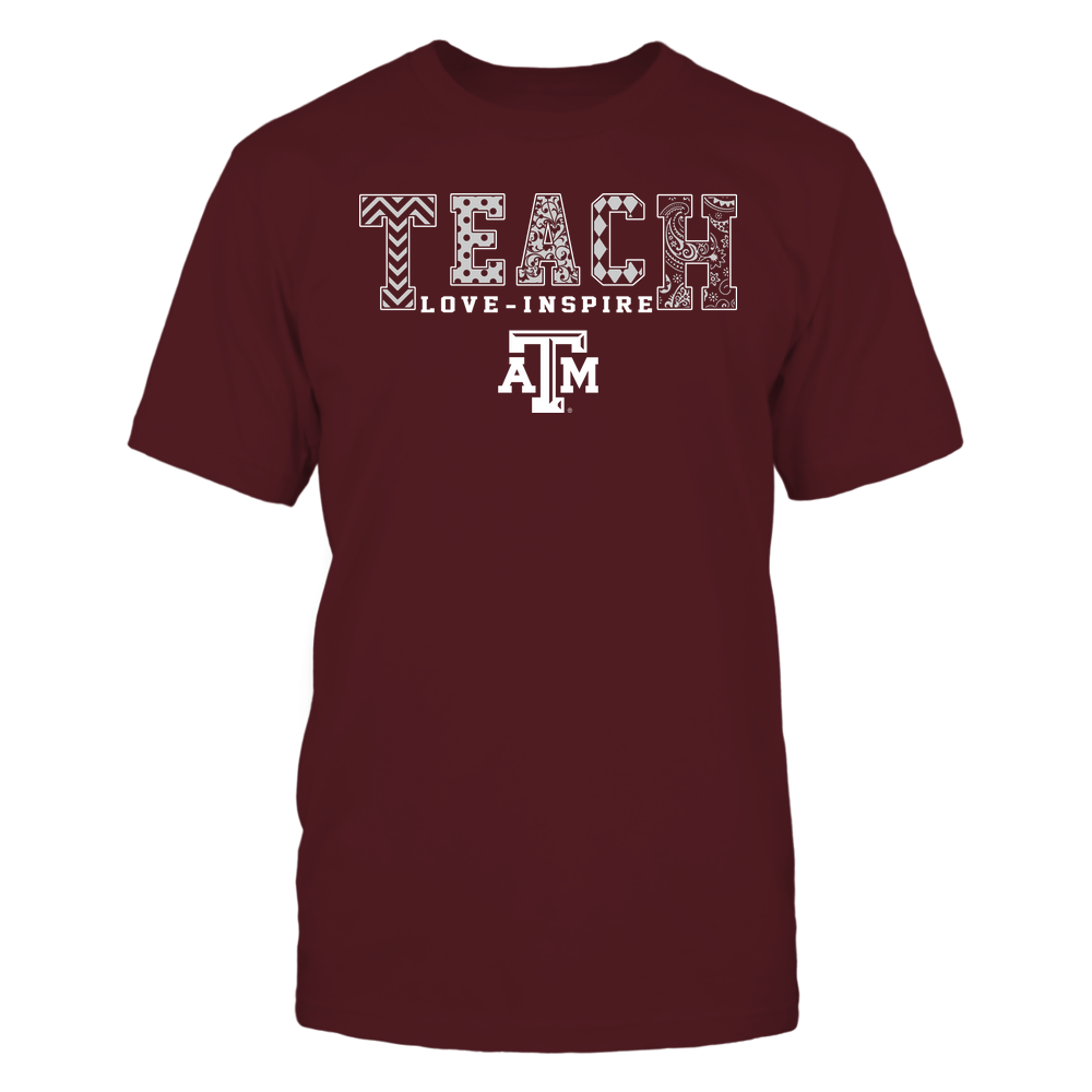 Texas A&M Aggies - Teach Love Inspire - Slogan Pattern - Team Front picture