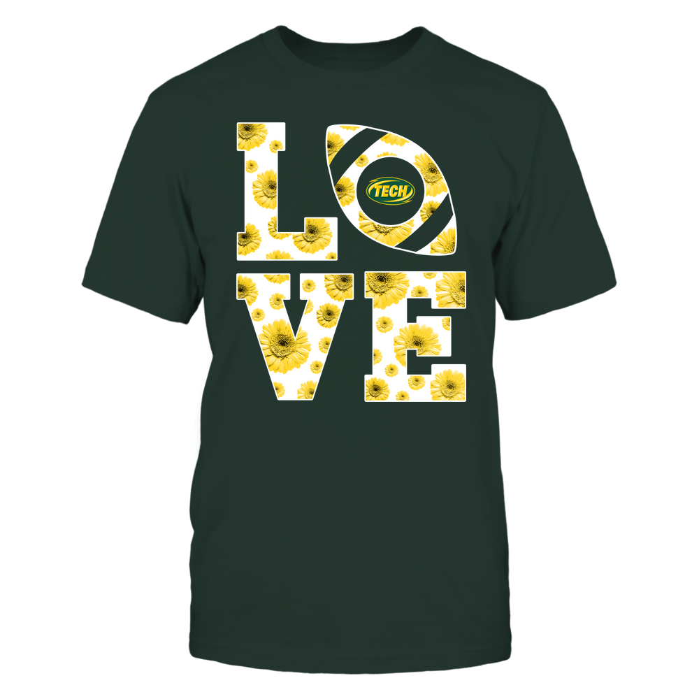 Arkansas Tech Golden Suns - Stacked - Love Football Daisy Pattern - Team Front picture