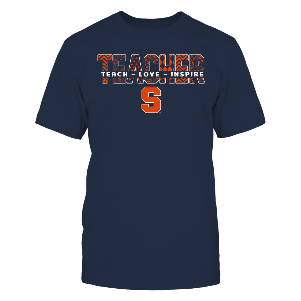 Syracuse Orange - Teacher - Teach Love Inspire Patterned - Cut Through Front picture