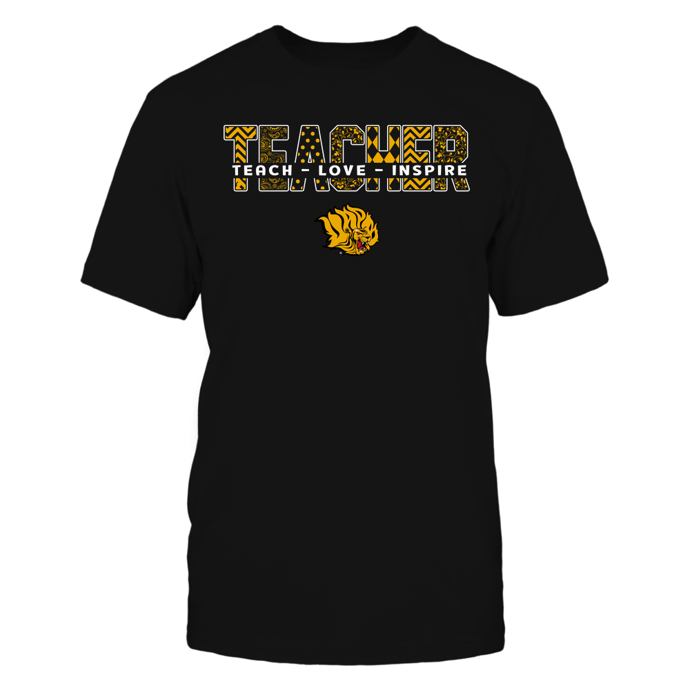Arkansas Pine Bluff Golden Lions - Teacher - Teach Love Inspire Patterned - Cut Through Front picture