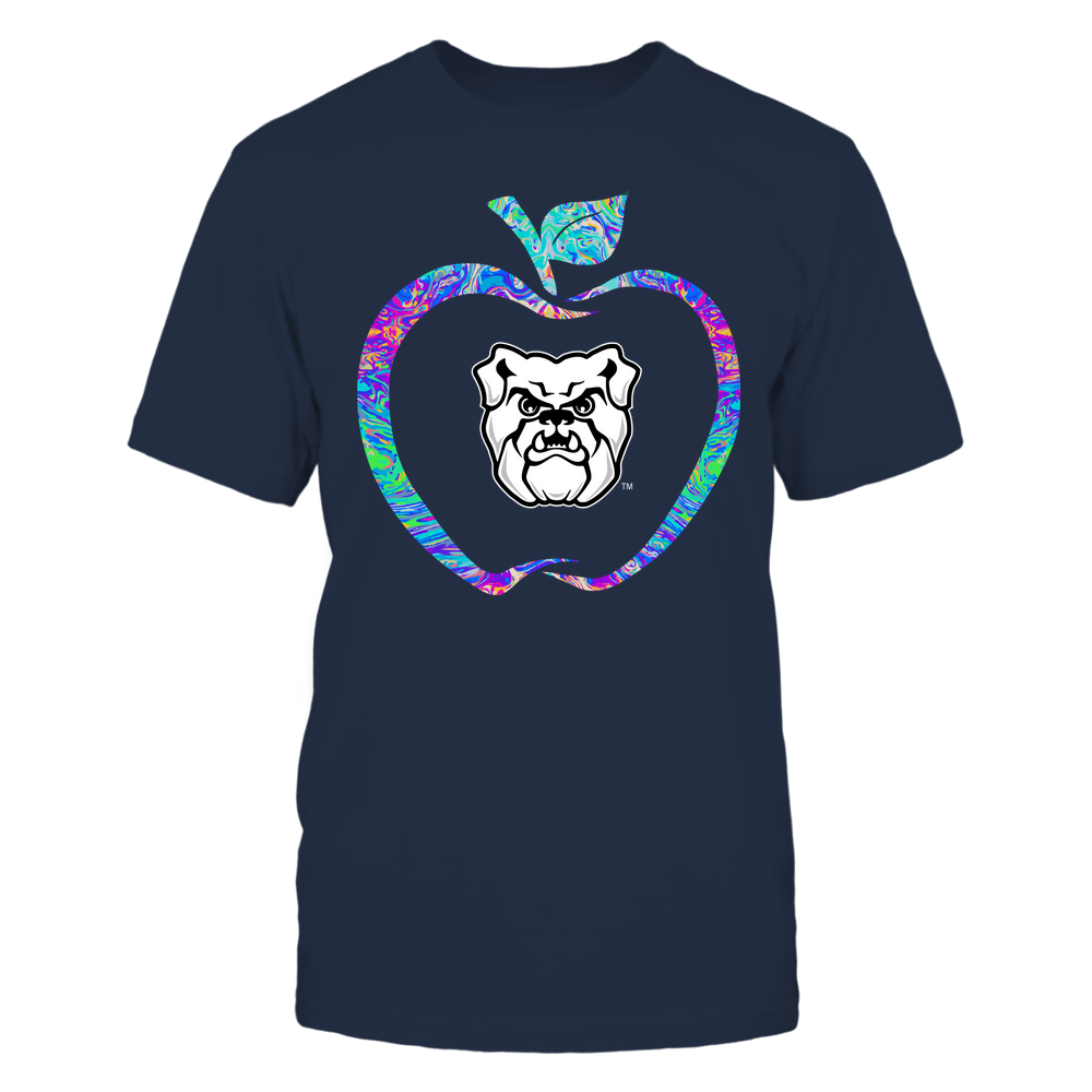 Butler Bulldogs - Teacher - Apple Outline Rainbow Swirl - Team Front picture
