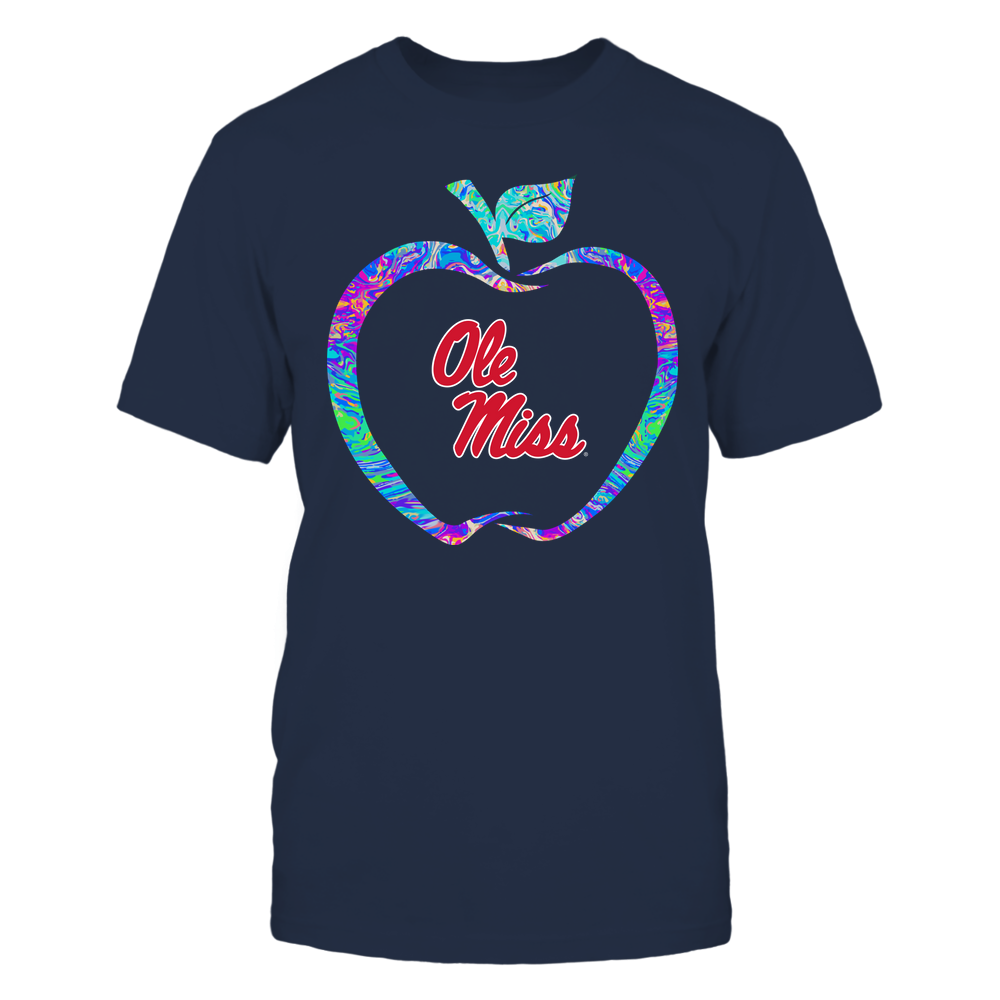 Ole Miss Rebels - Teacher - Apple Outline Rainbow Swirl - Team Front picture