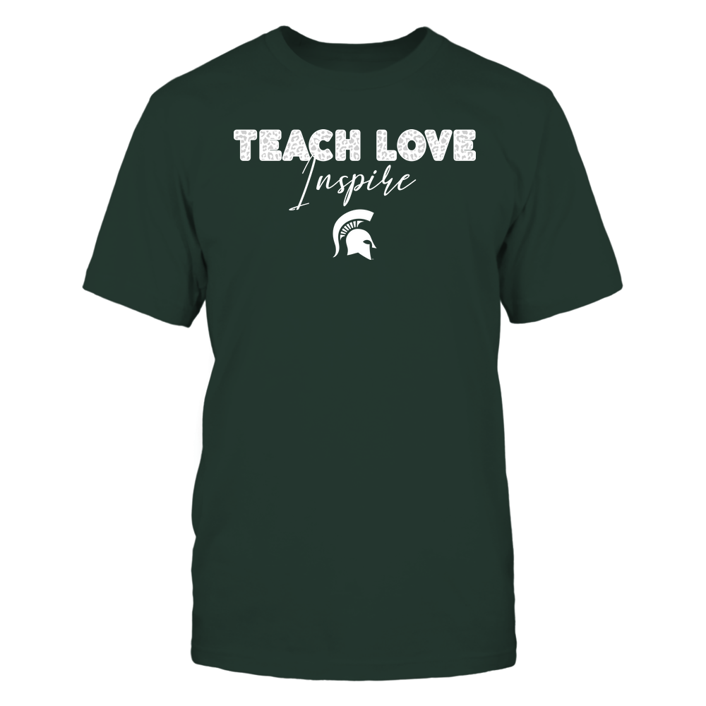Michigan State Spartans - Teacher - Teach Love Inspire - Leopard Swirly Font Front picture