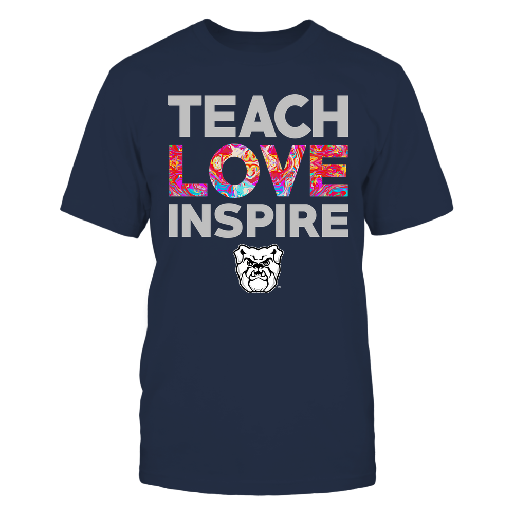 Butler Bulldogs - Teacher - Teach Love Inspire - Rainbow Swirl Front picture