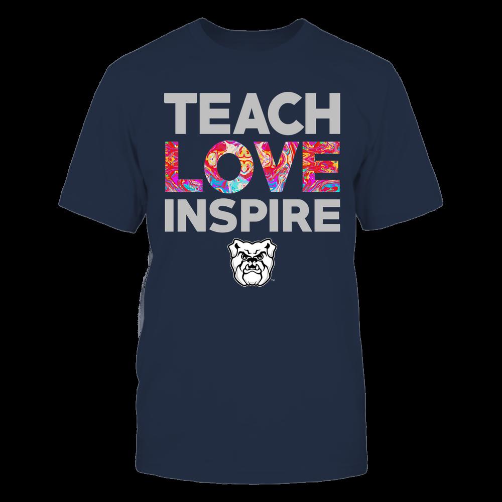 Butler Bulldogs - Teacher - Teach Love Inspire - Rainbow Swirl Front picture
