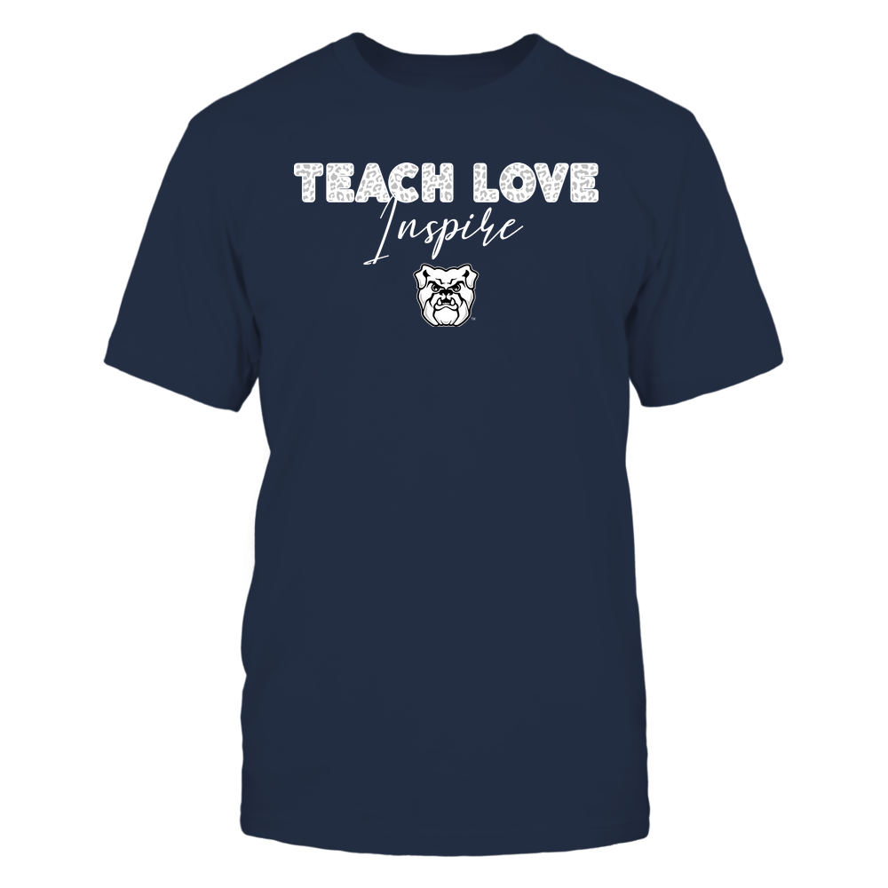 Butler Bulldogs - Teacher - Teach Love Inspire - Leopard Swirly Font Front picture