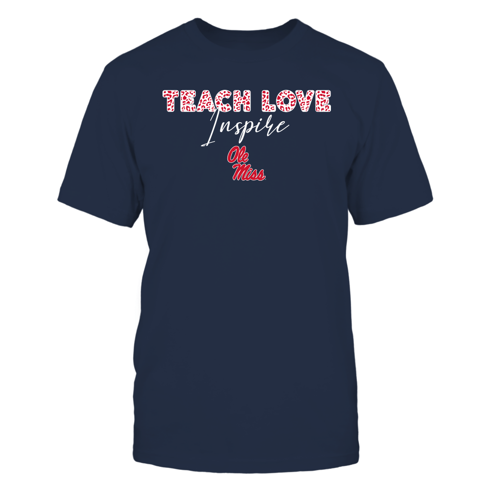 Ole Miss Rebels - Teacher - Teach Love Inspire - Leopard Swirly Font Front picture