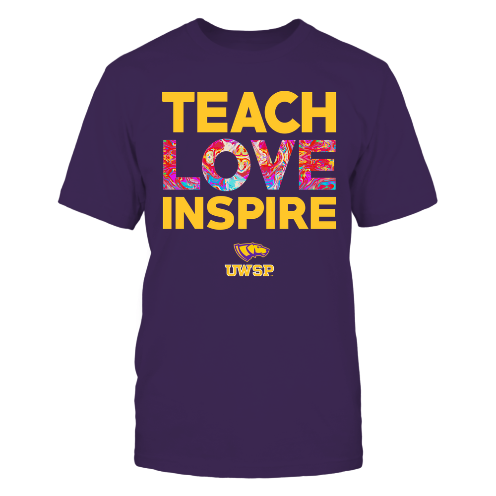 Wisconsin-Stevens Point Pointers - Teacher - Teach Love Inspire - Rainbow Swirl Front picture
