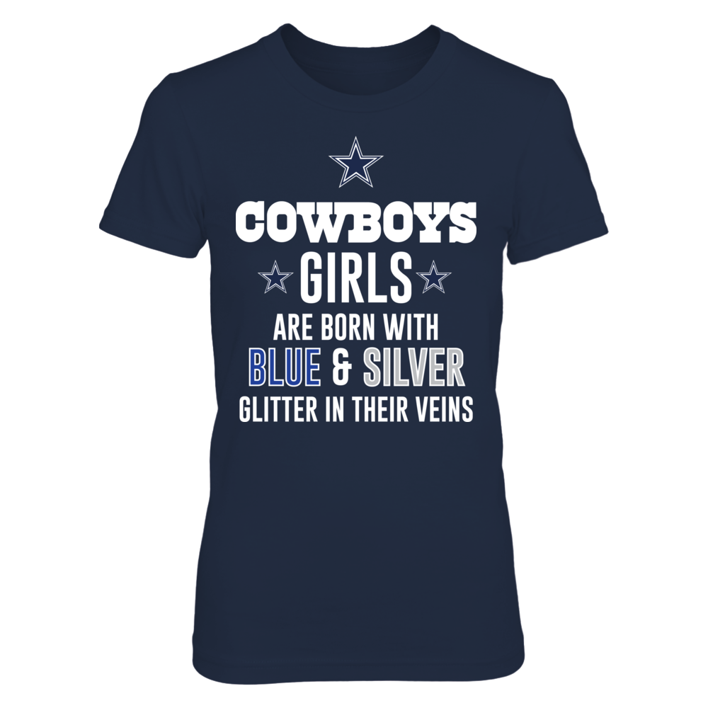Dallas Cowboys COWBOYS GIRLS ARE BORN WITH BLUE & SILVER GLITTER IN THEIR VEINS FanPrint