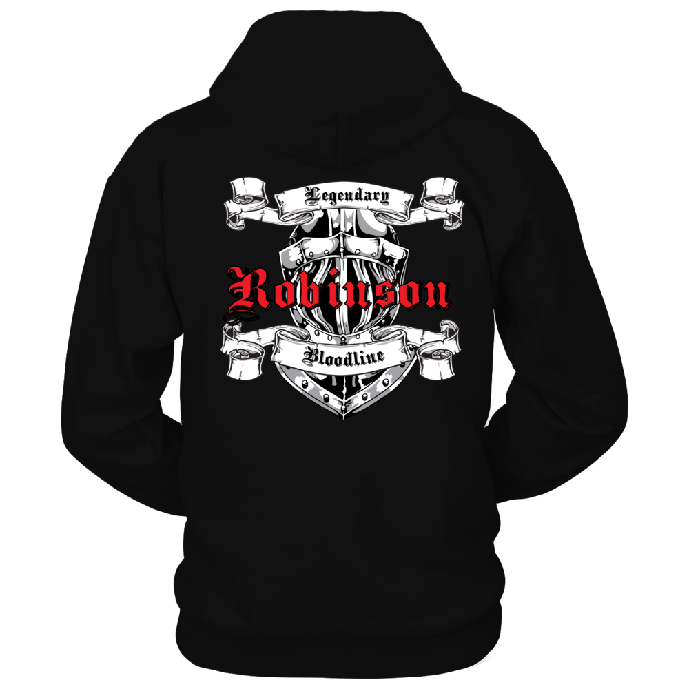 TShirt Hoodie Bold Knight Helmet Graphic Legendary Bloodline Last Name Robinson FanPrint