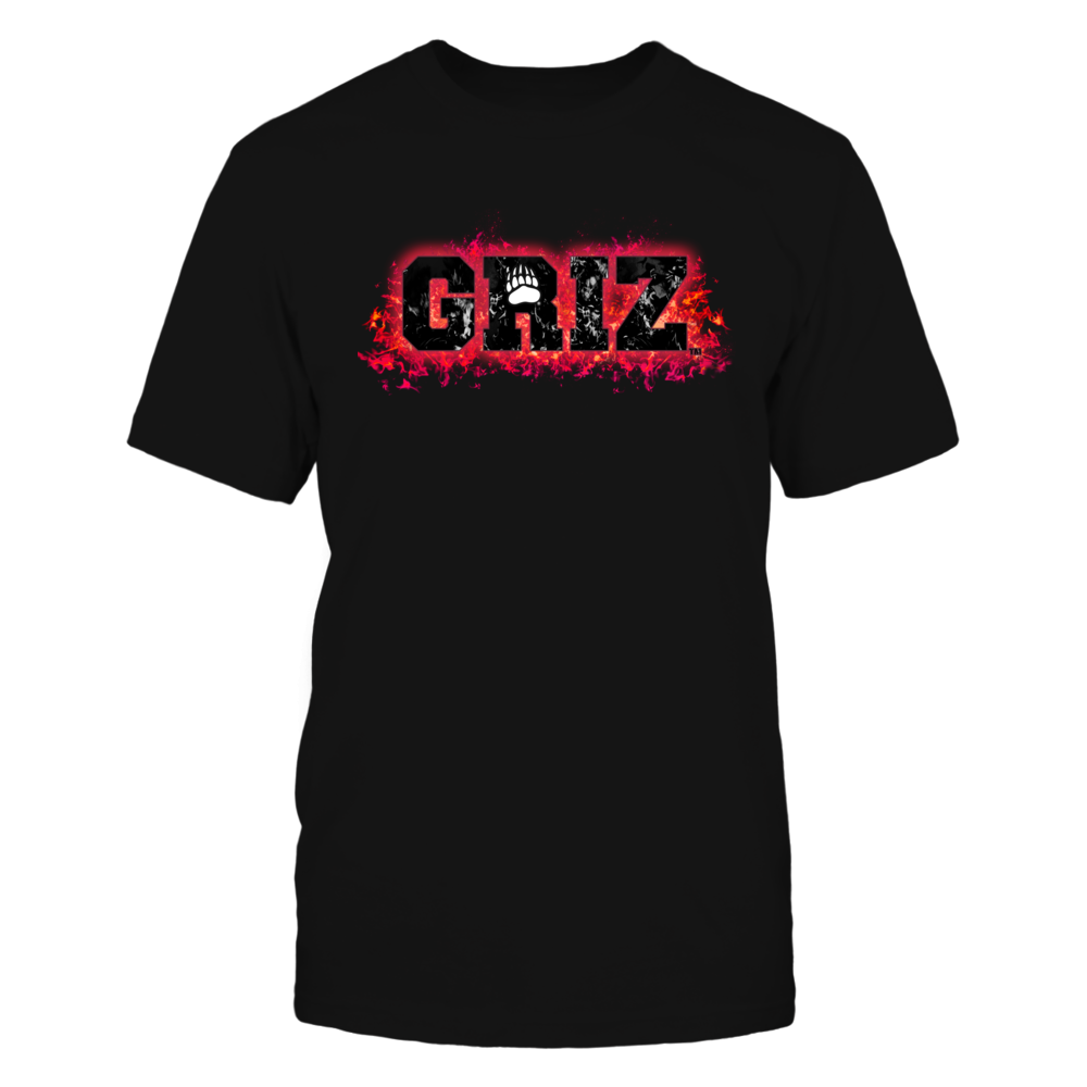 Montana Grizzlies - Fire text Front picture