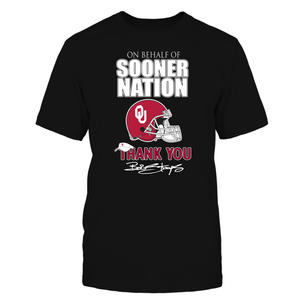 Sooner Nation Thanks You Bob Stoops- Get this Official Commemorative Oklahoma Sooner Football Shirt While Supplies Last Front picture