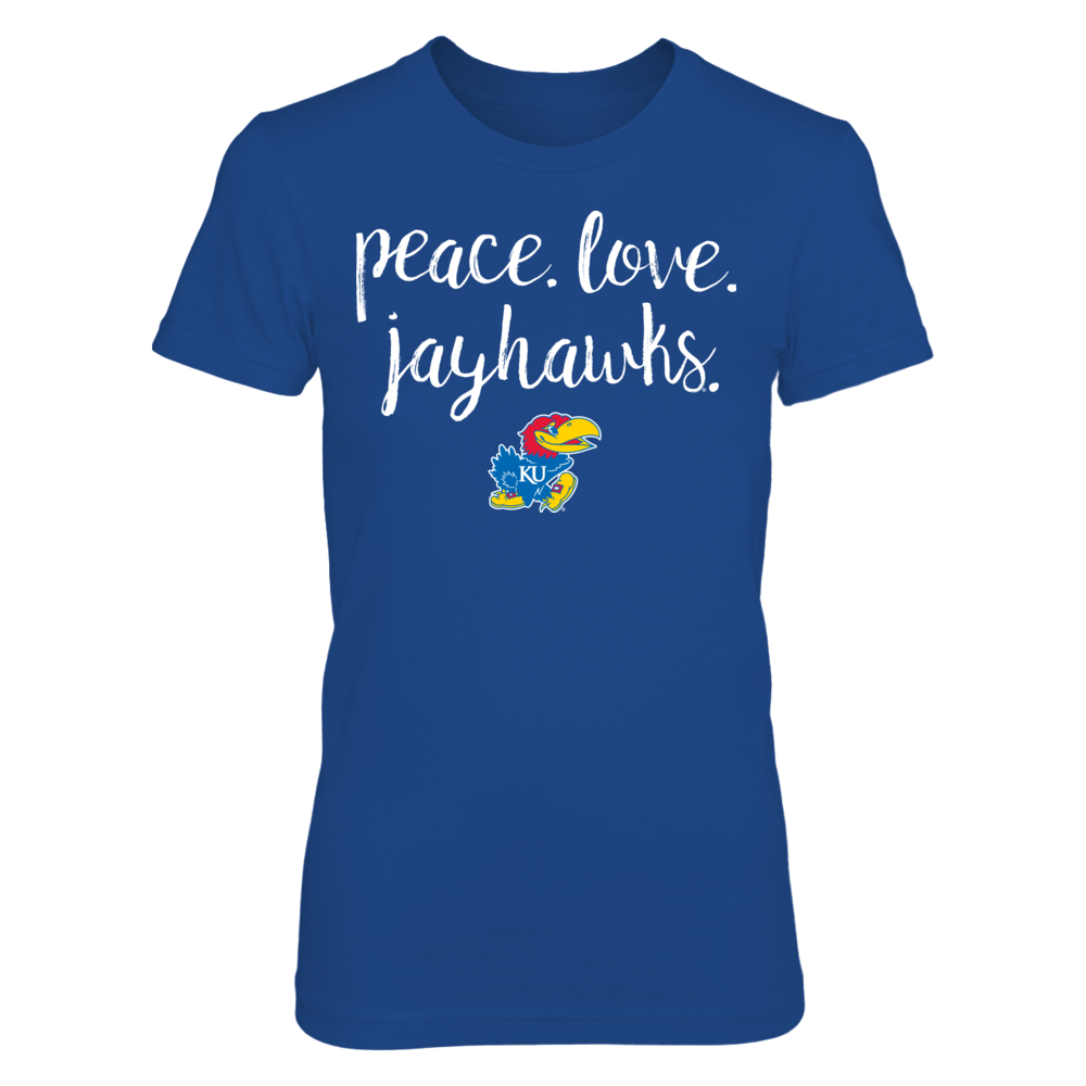 Peace. Love. Jayhawks. - University of Kansas  Officially Licensed T-Shirt Front picture
